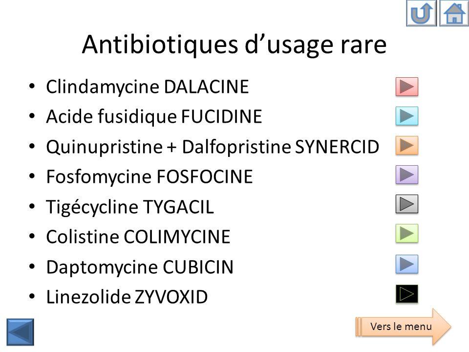 Antibiotiques d'usage rare