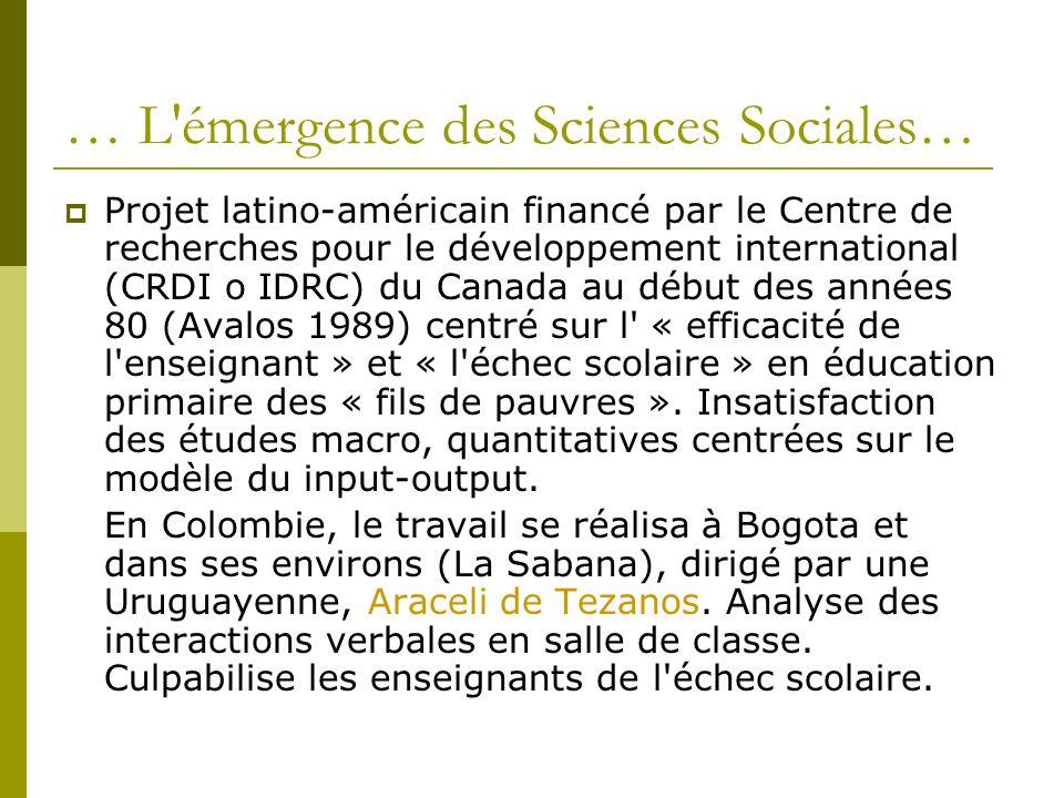 … L émergence des Sciences Sociales…