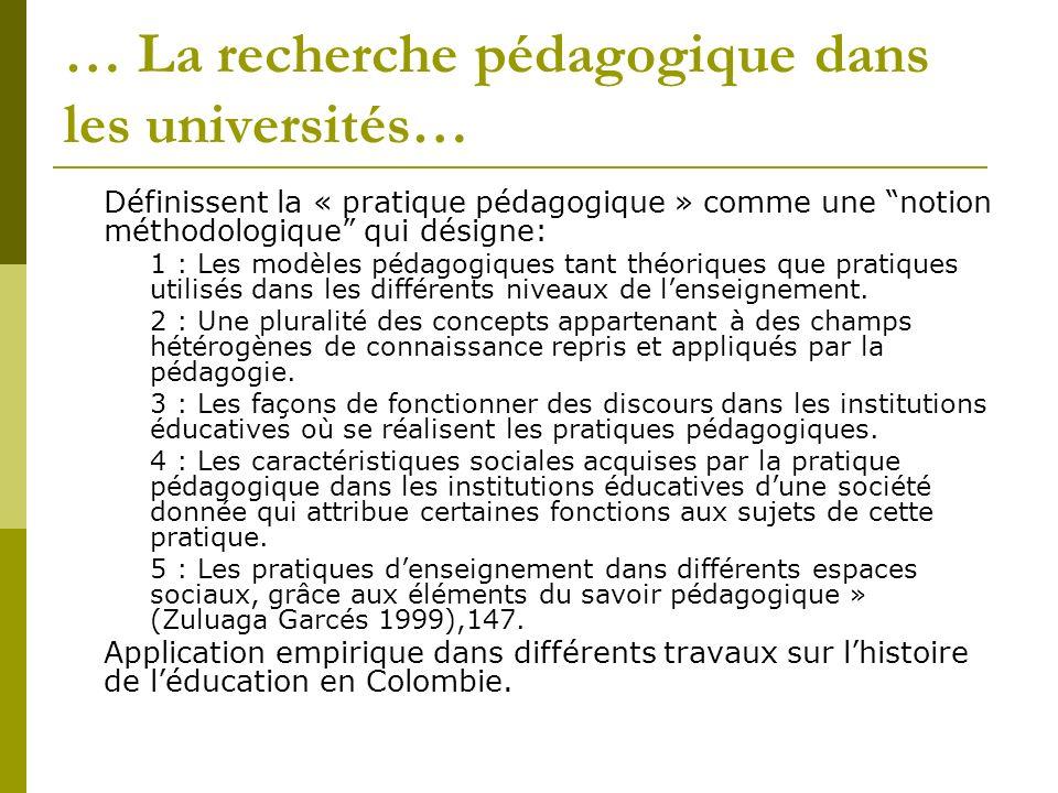 … La recherche pédagogique dans les universités…