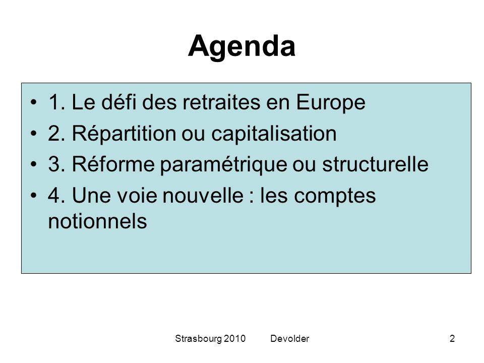 Agenda 1. Le défi des retraites en Europe