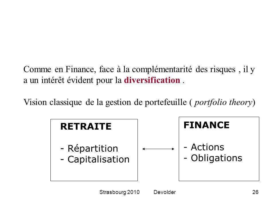 Comme en Finance, face à la complémentarité des risques , il y