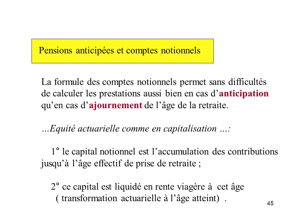 Pensions anticipées et comptes notionnels
