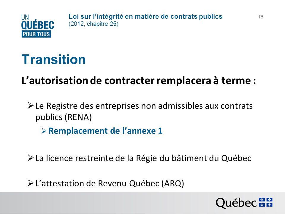Transition L'autorisation de contracter remplacera à terme :