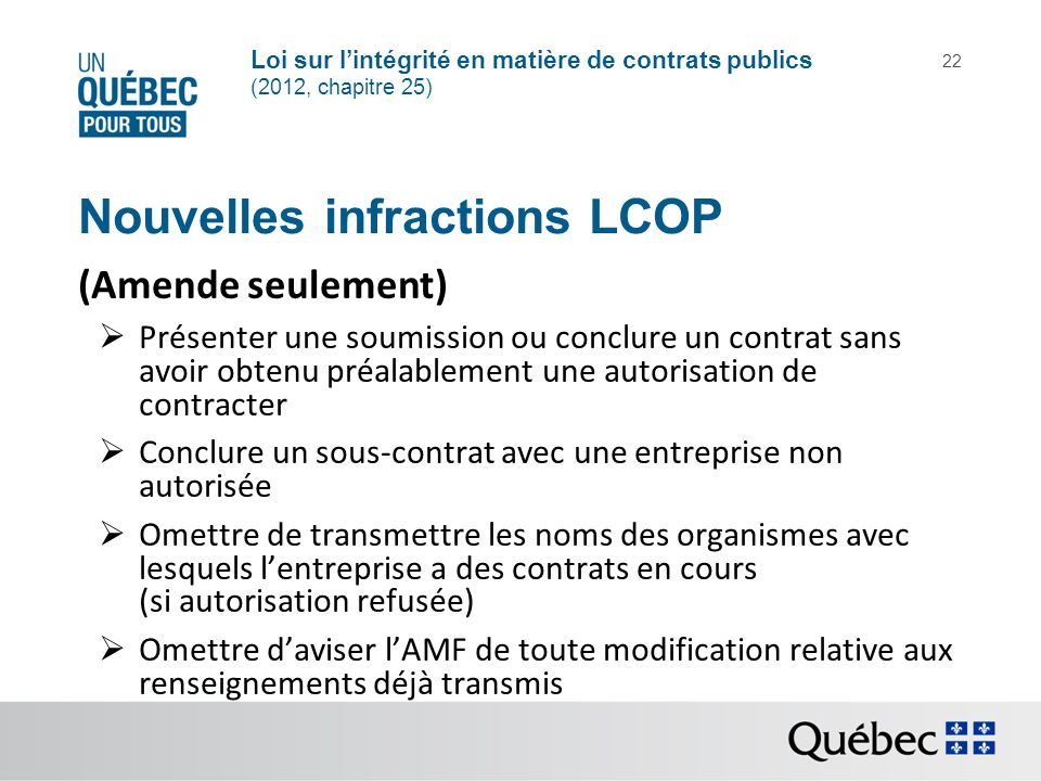 Nouvelles infractions LCOP