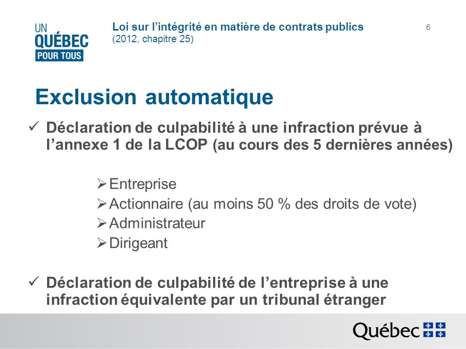 Exclusion automatique