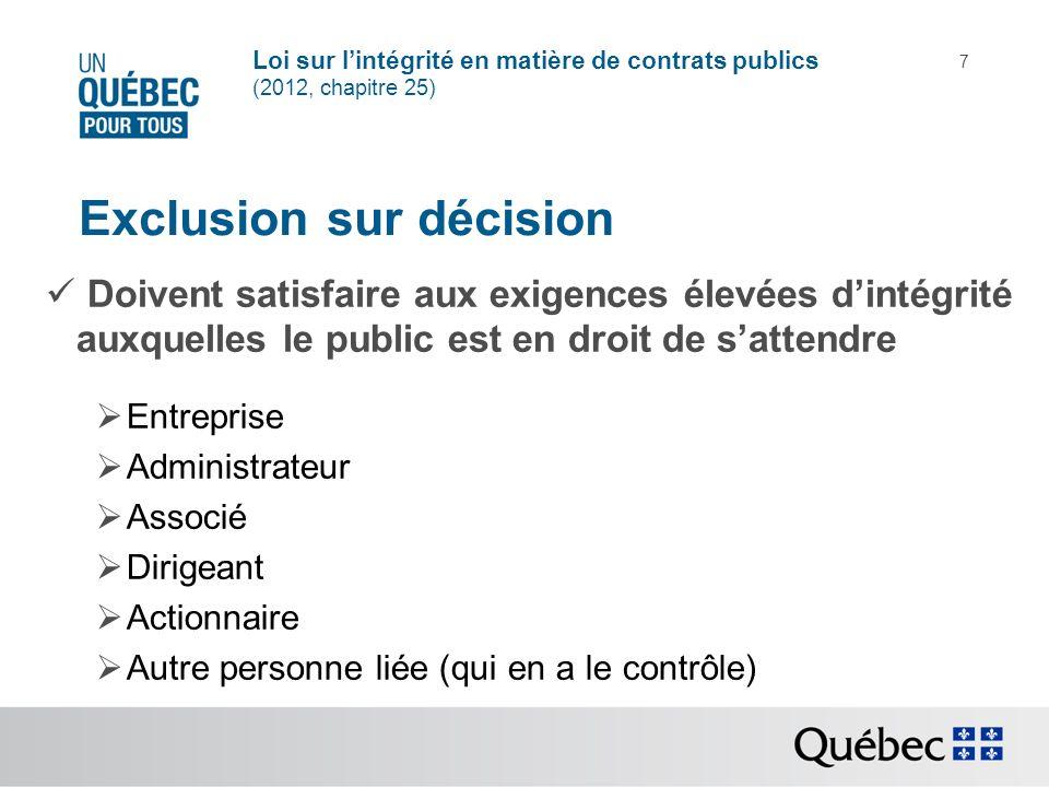 Exclusion sur décision