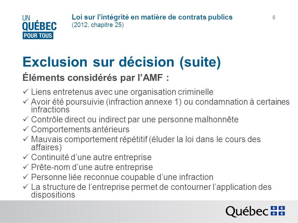 Exclusion sur décision (suite)