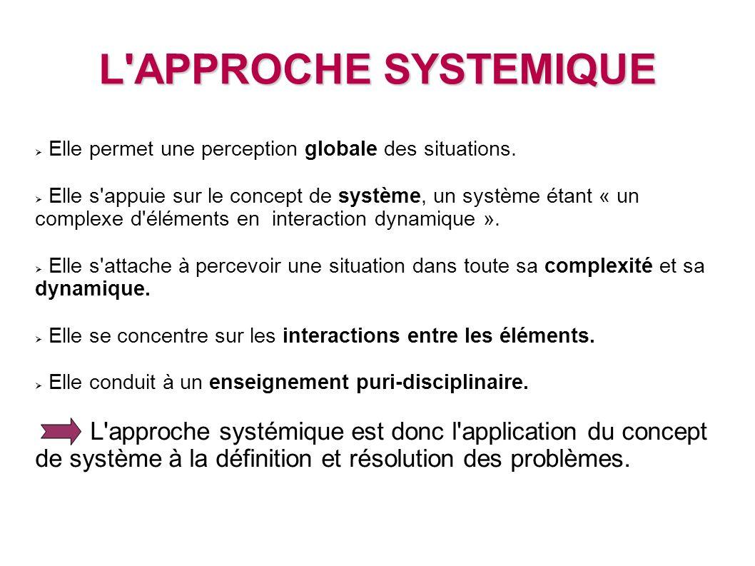L APPROCHE SYSTEMIQUE Elle permet une perception globale des situations.
