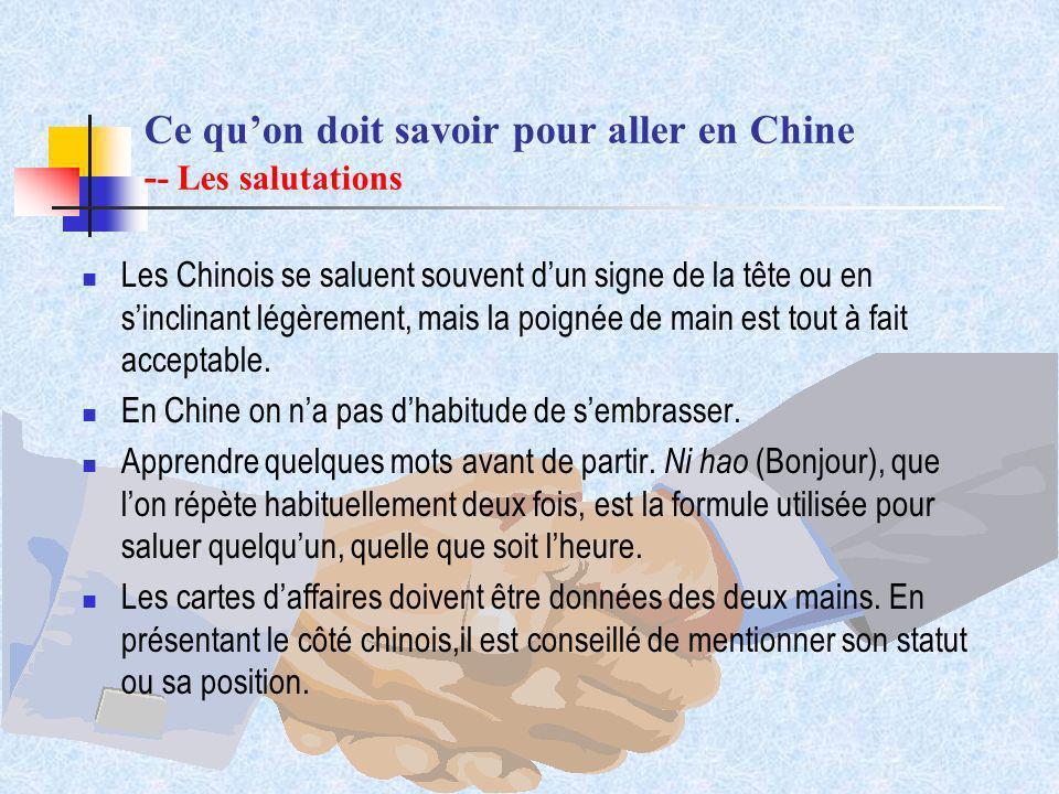 Ce qu'on doit savoir pour aller en Chine -- Les salutations