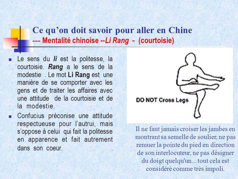 Ce qu'on doit savoir pour aller en Chine --- Mentalité chinoise --Li Rang- (courtoisie)