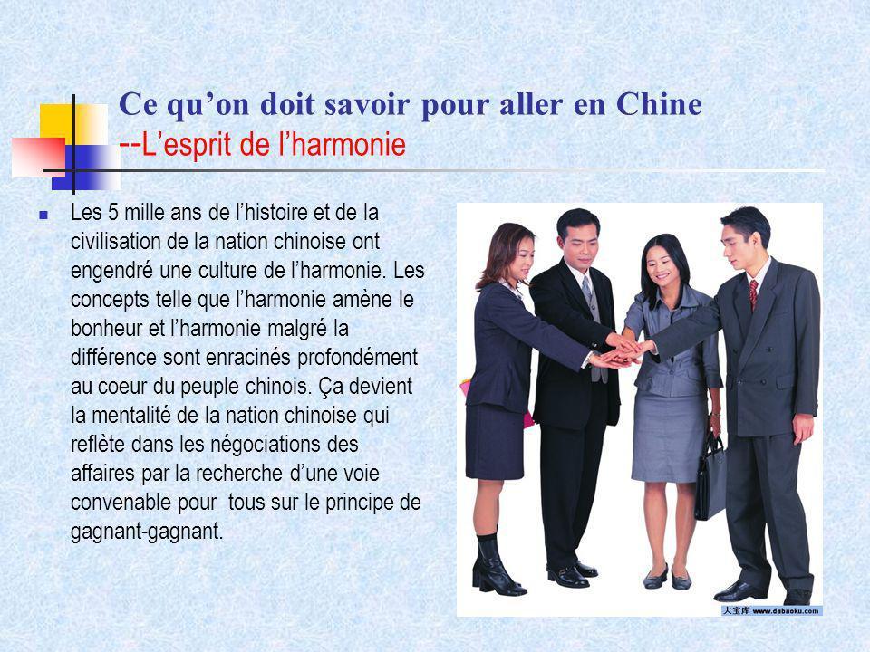 Ce qu'on doit savoir pour aller en Chine --L'esprit de l'harmonie