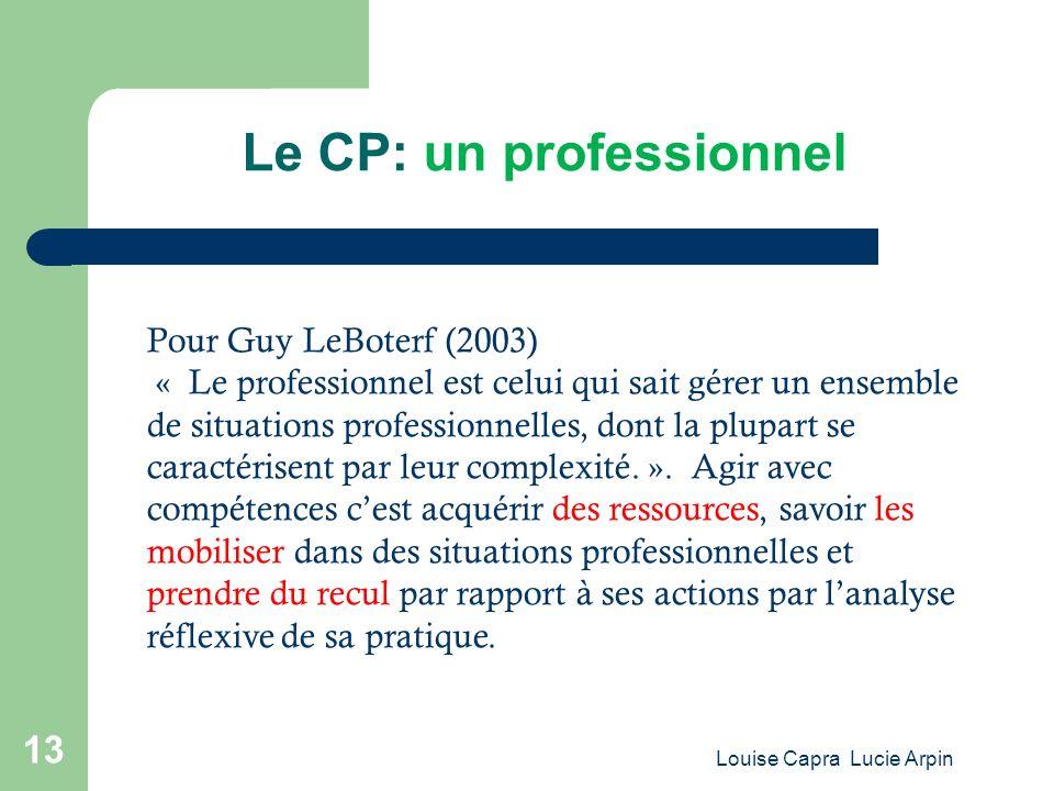 Le CP: un professionnel