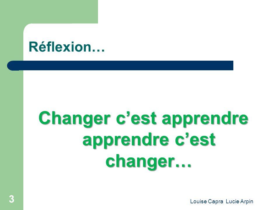 Changer c'est apprendre apprendre c'est changer…