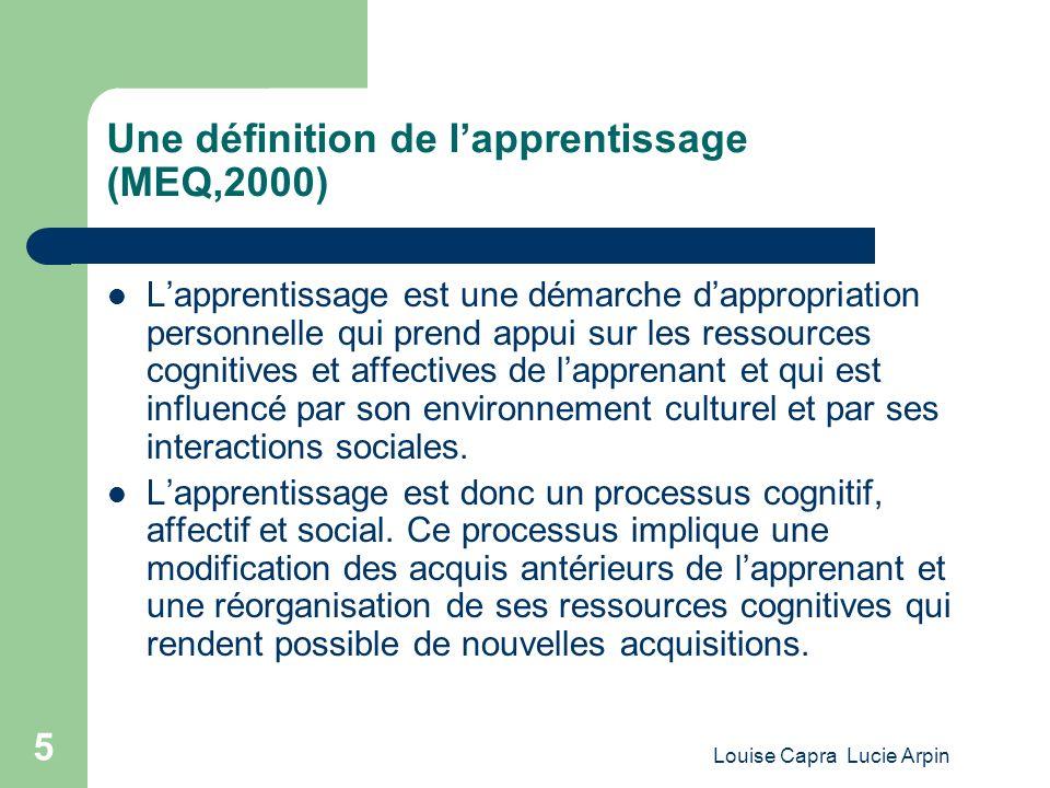 Une définition de l'apprentissage (MEQ,2000)