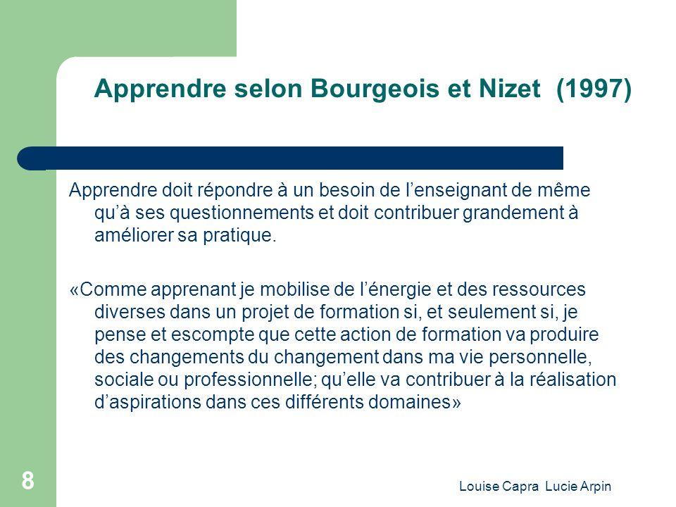 Apprendre selon Bourgeois et Nizet (1997)