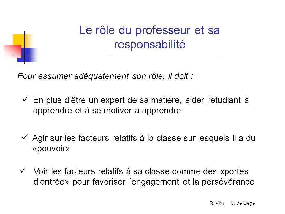 Le rôle du professeur et sa responsabilité