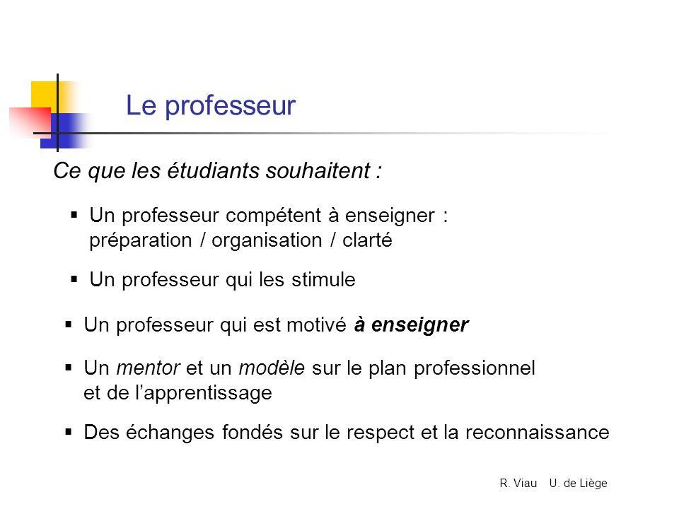 Le professeur Ce que les étudiants souhaitent :