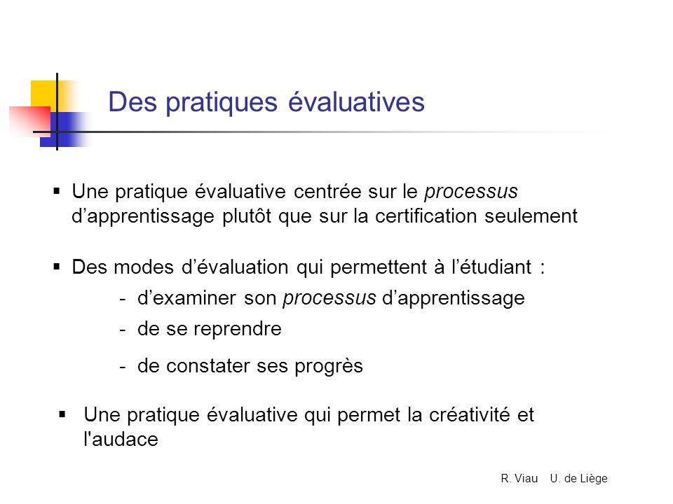 Des pratiques évaluatives