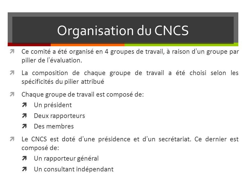 Organisation du CNCS Ce comité a été organisé en 4 groupes de travail, à raison d'un groupe par pilier de l'évaluation.