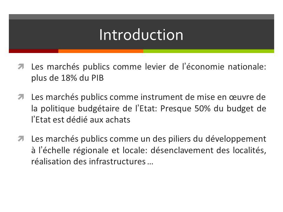 Introduction Les marchés publics comme levier de l'économie nationale: plus de 18% du PIB.