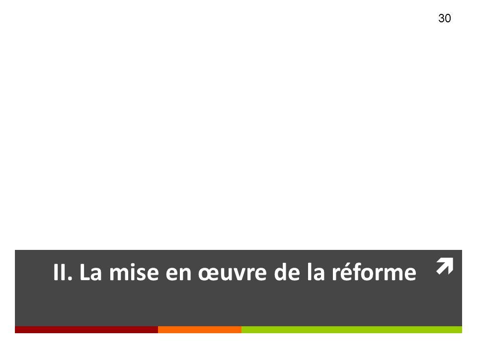 II. La mise en œuvre de la réforme