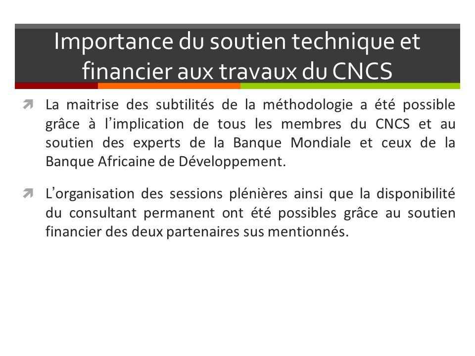 Importance du soutien technique et financier aux travaux du CNCS