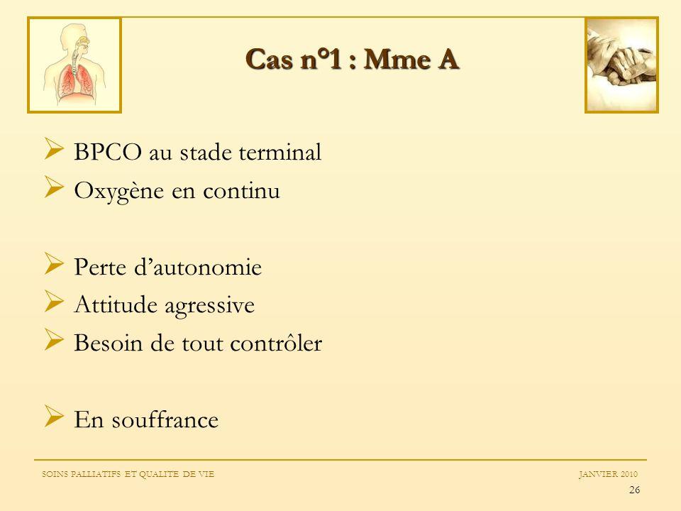 Cas n°1 : Mme A BPCO au stade terminal Oxygène en continu