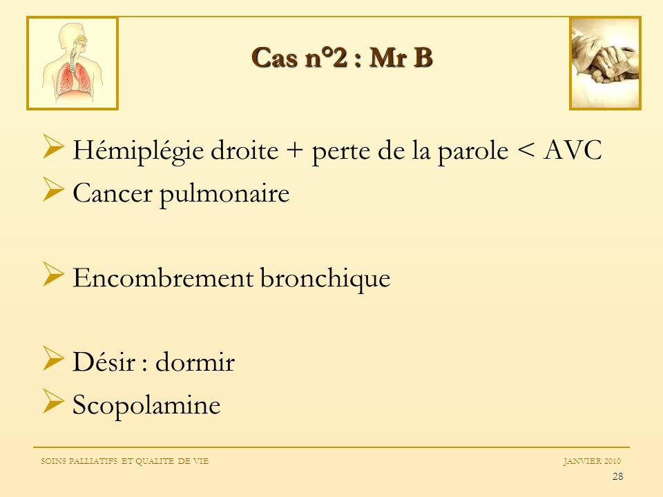 Hémiplégie droite + perte de la parole < AVC Cancer pulmonaire