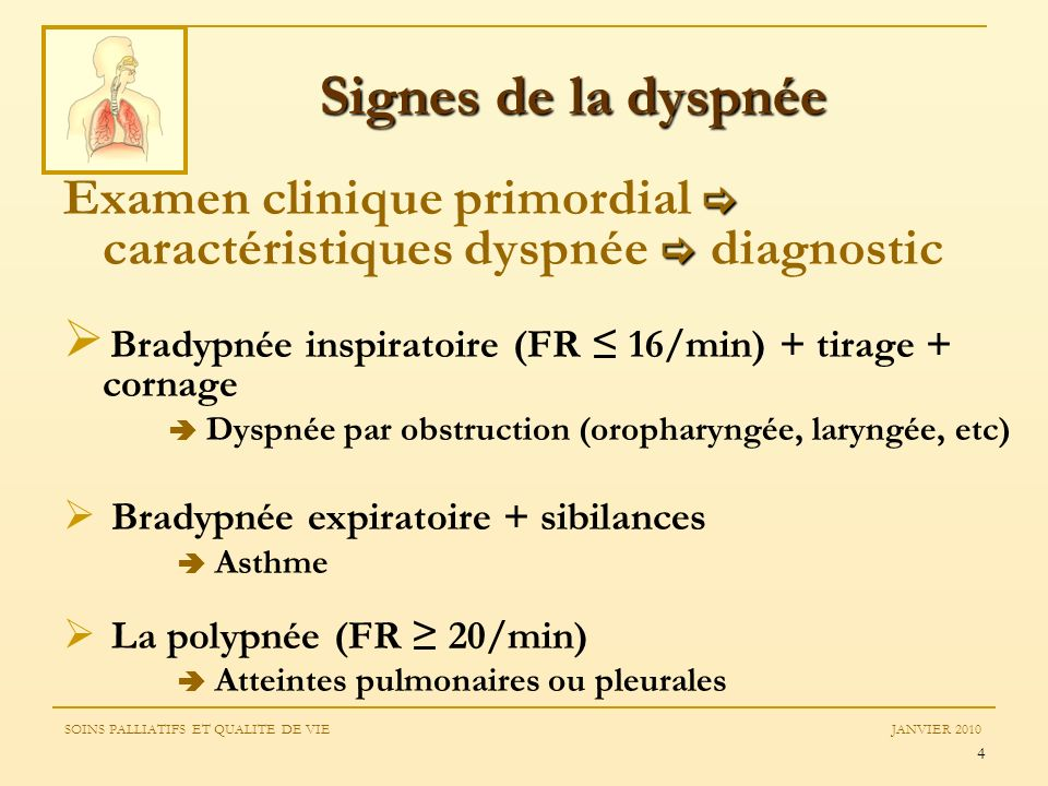 Signes de la dyspnée Examen clinique primordial  caractéristiques dyspnée  diagnostic. Bradypnée inspiratoire (FR ≤ 16/min) + tirage + cornage.