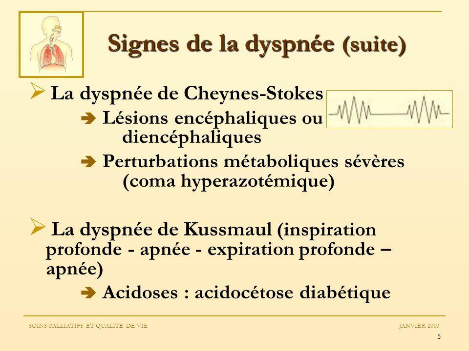 Signes de la dyspnée (suite)