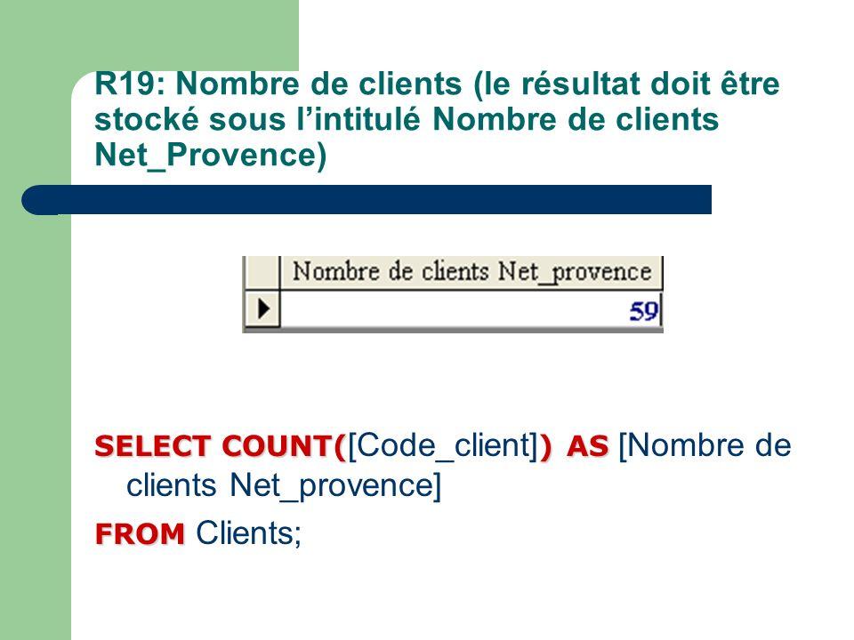 R19: Nombre de clients (le résultat doit être stocké sous l'intitulé Nombre de clients Net_Provence)