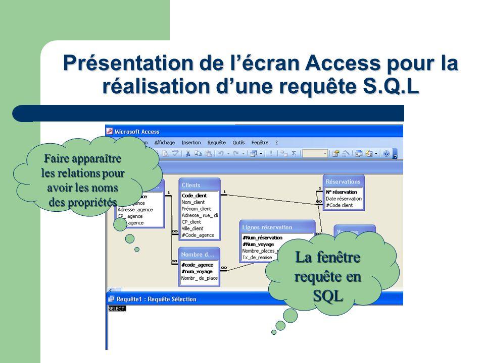 Présentation de l'écran Access pour la réalisation d'une requête S.Q.L