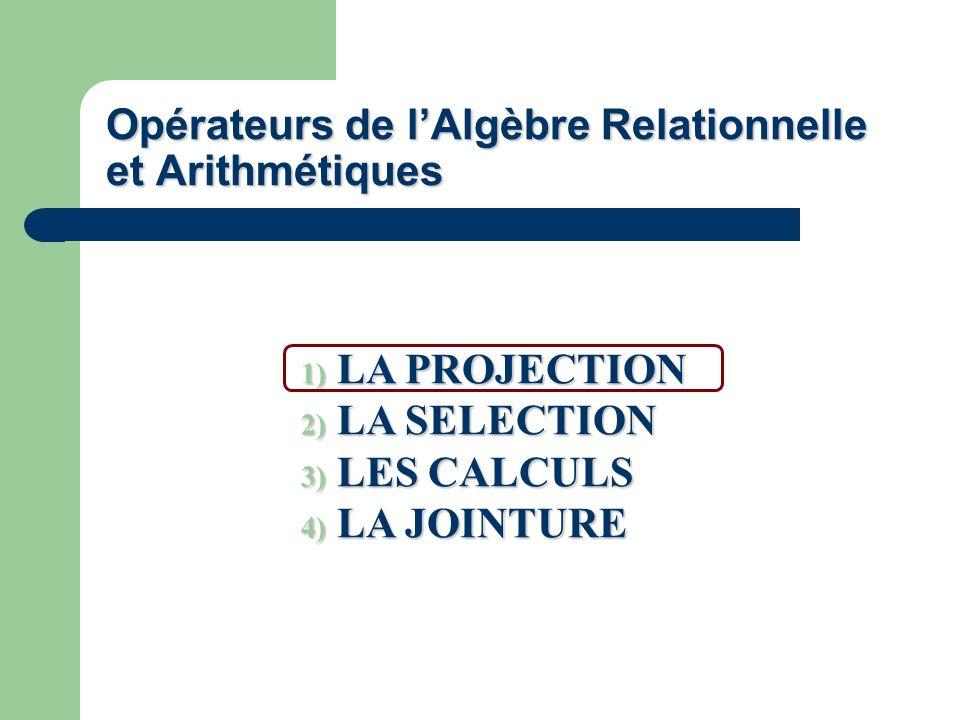 Opérateurs de l'Algèbre Relationnelle et Arithmétiques