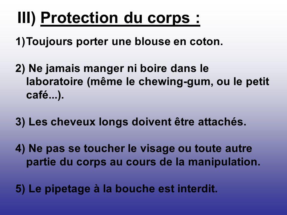 III) Protection du corps :