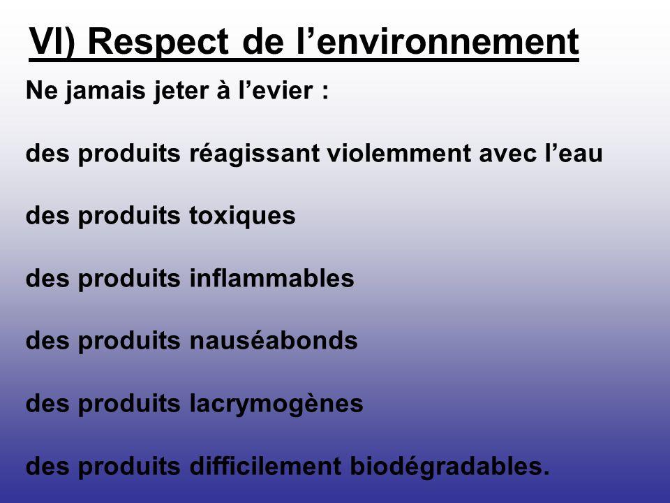 VI) Respect de l'environnement