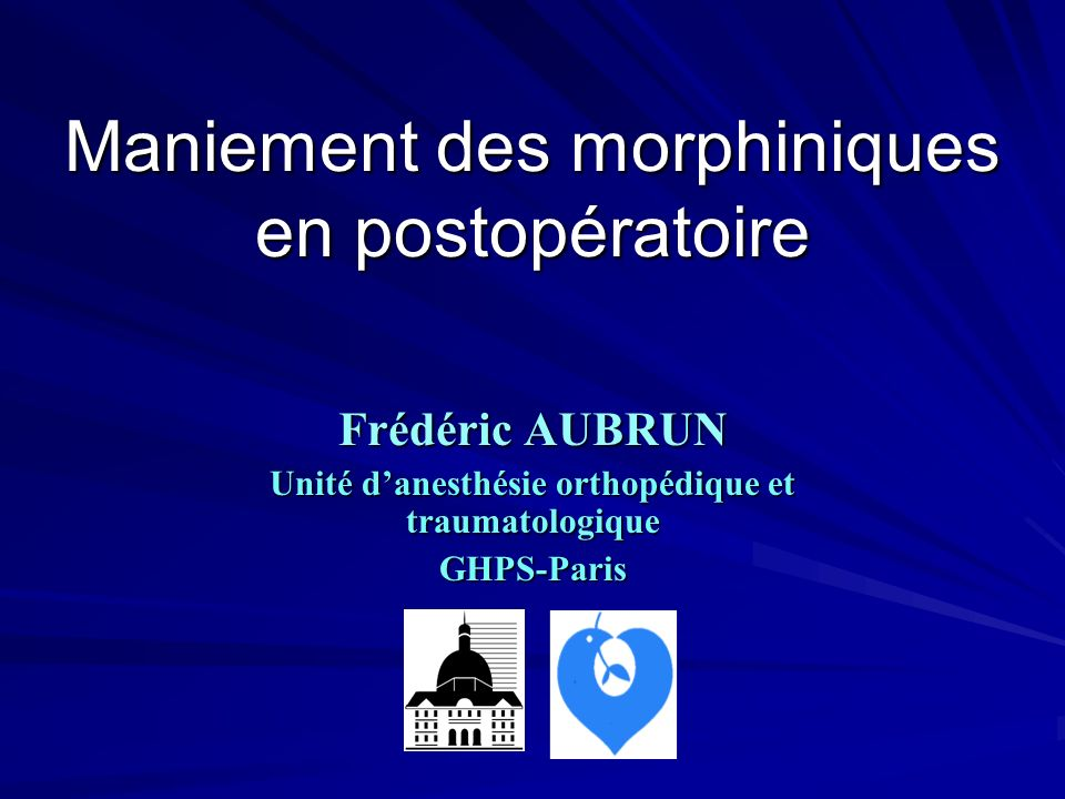 Maniement des morphiniques en postopératoire