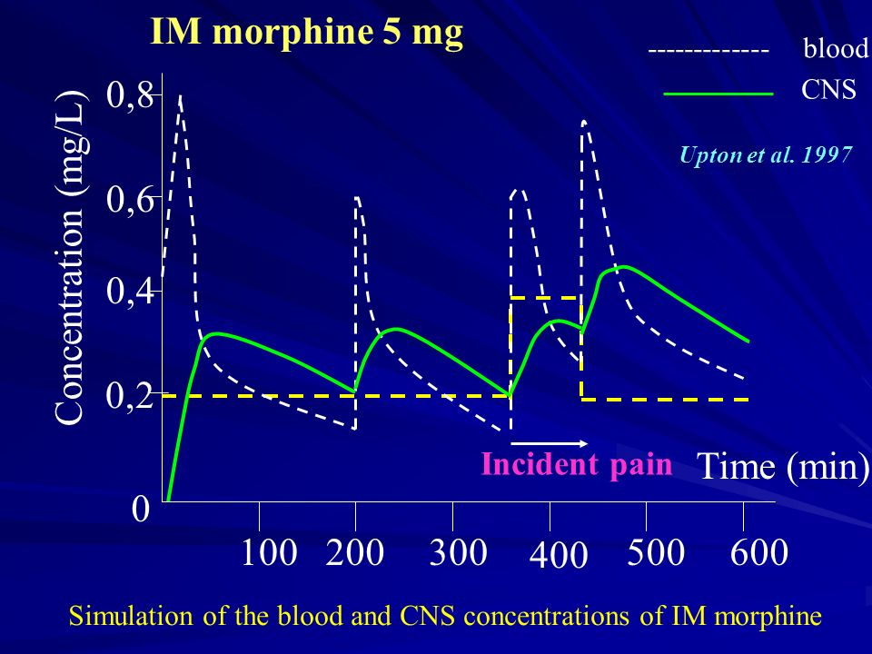 IM morphine 5 mg 0,8 0,6 Concentration (mg/L) 0,4 0,2 Time (min) 100