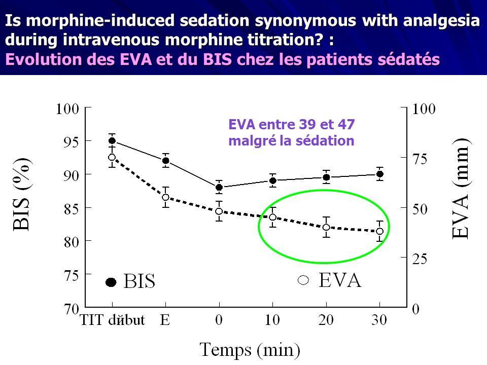 Evolution des EVA et du BIS chez les patients sédatés