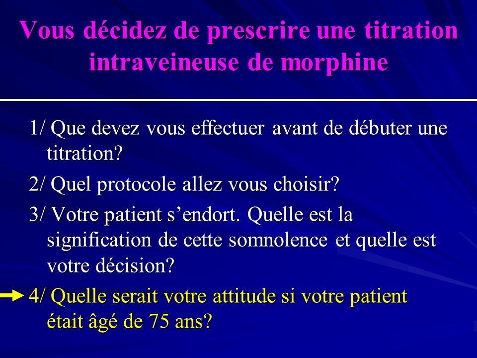 Vous décidez de prescrire une titration intraveineuse de morphine
