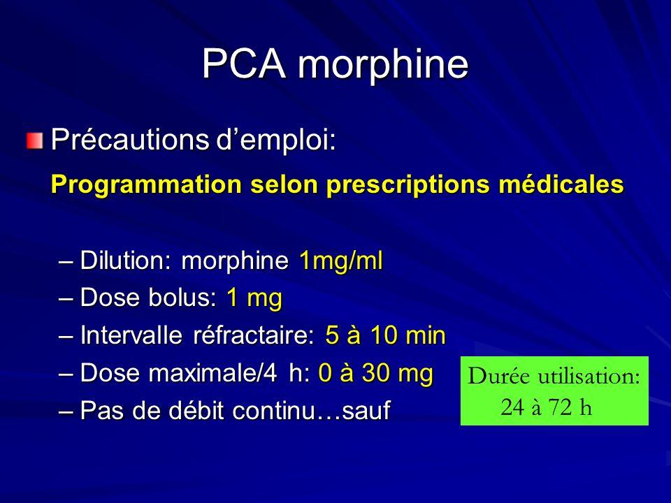 PCA morphine Précautions d'emploi: