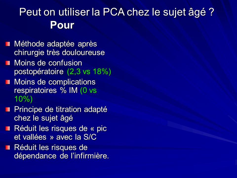 Peut on utiliser la PCA chez le sujet âgé Pour
