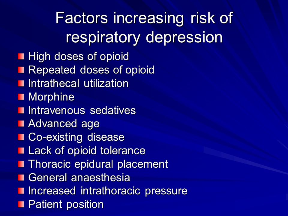 Factors increasing risk of respiratory depression