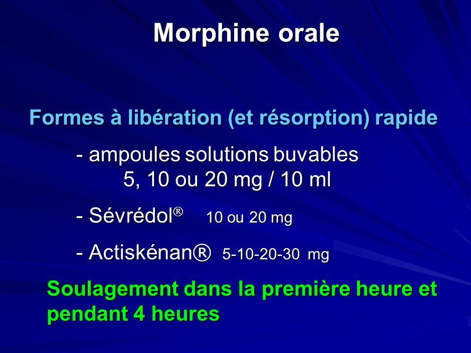 Morphine orale Formes à libération (et résorption) rapide