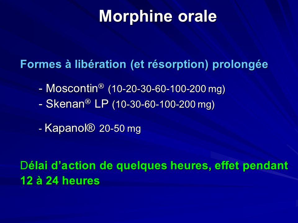 Morphine orale Formes à libération (et résorption) prolongée
