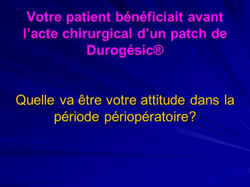 Votre patient bénéficiait avant l'acte chirurgical d'un patch de Durogésic® Quelle va être votre attitude dans la période périopératoire