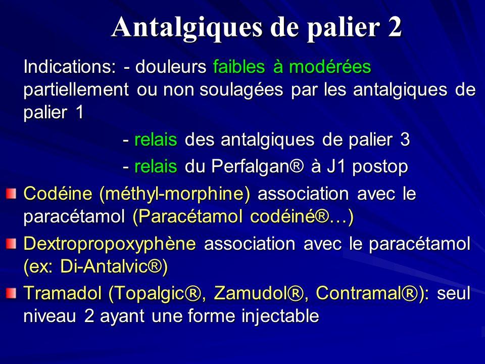 Antalgiques de palier 2 Indications: - douleurs faibles à modérées partiellement ou non soulagées par les antalgiques de palier 1.
