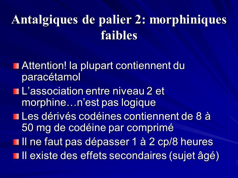 Antalgiques de palier 2: morphiniques faibles