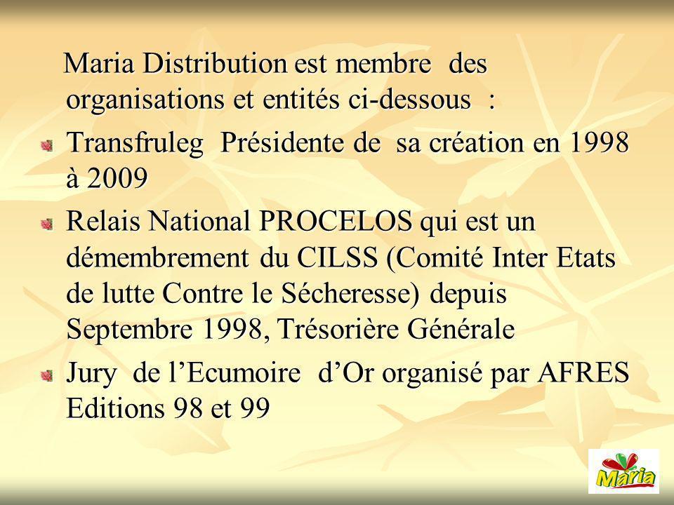 Maria Distribution est membre des organisations et entités ci-dessous :