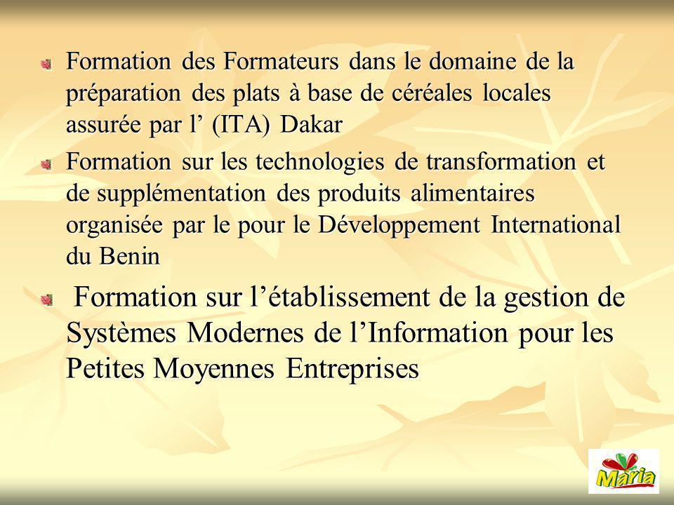 Formation des Formateurs dans le domaine de la préparation des plats à base de céréales locales assurée par l' (ITA) Dakar