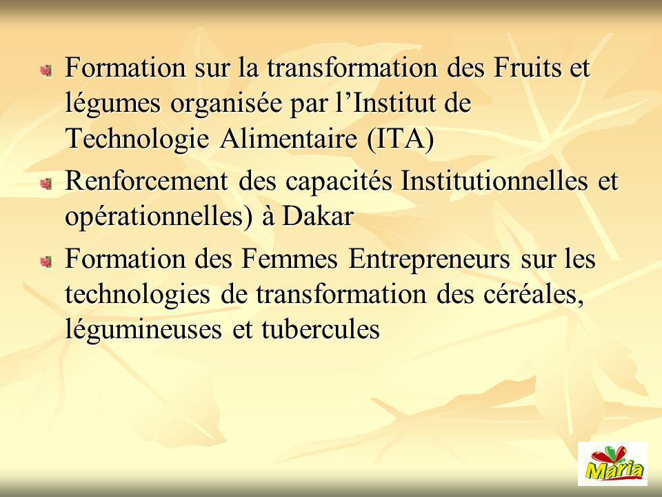 Formation sur la transformation des Fruits et légumes organisée par l'Institut de Technologie Alimentaire (ITA)